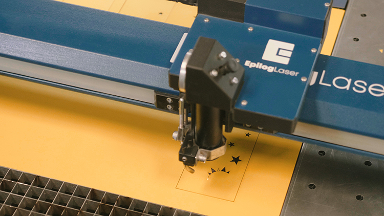 Laser cutting yellow paper cardstock